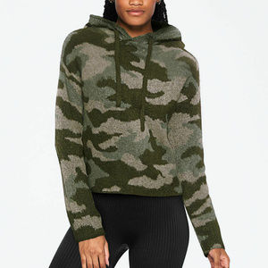 PINK Camo Cropped Ribbed Pullover Hoodie Sweater M